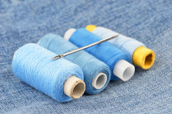 Threads on jeans backround Royalty Free Stock Photography