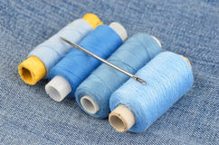 Threads on jeans backround Royalty Free Stock Image