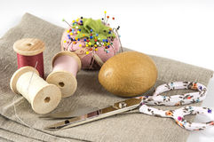 Threads, needle and scssors Stock Photo