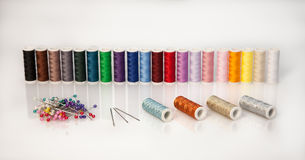 Threads with needles Royalty Free Stock Photos