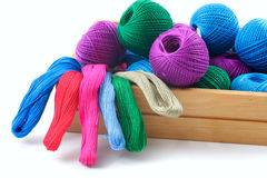 Threads for needlework in a wooden box. Stock Images