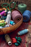 Threads and other tools dressmaker Stock Photos