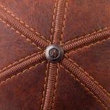 Threads seam on leather Royalty Free Stock Photos