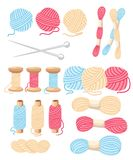 Threads for sewing for cross stitching set tools for sewing knitting needles  wool knitwear yarn thread knitting weaving woo. L  cartoon illustration multi Royalty Free Stock Images