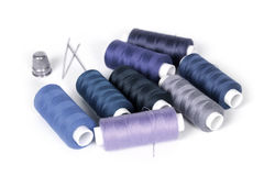 Threads, thimble and needles Stock Image