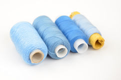 Threads on white backround. Old threads coil collection on white backround stock photo