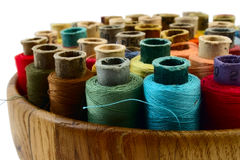 Threads in wooden plate Stock Image