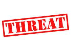 THREAT. Red Rubber Stamp over a white background Stock Photos