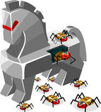 Threat of Trojan Virus. Detailed vector Illustration Stock Images