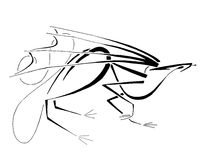 Threatened Dragon, Stylized Line Art. Abstract line depiction of a dragon who's not totally at ease with his surroundings Stock Images