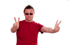 Threatened man is showing peace Stock Photography