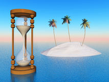 Threatened Paradise. Computer generated 3D illustration with hourglass and island Stock Image