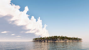 Threatened Paradise. Computer generated 3D illustration with island and wall of clouds Stock Image