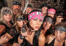 Threatening Biker Gang Royalty Free Stock Photos