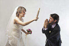 Threatening bride stock photos