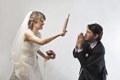 Threatening bride Stock Photos