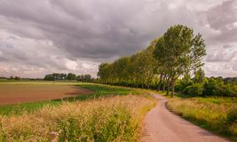 Threatening clouds above a Dutch landscape Royalty Free Stock Photo