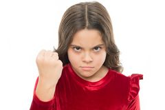 Threatening with physical attack. Kids aggression concept. Aggressive girl threatening to beat you. Dangerous girl. You. Are warned. Girl kid threatening with stock images