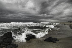 Threatening sky and angry surf on the Jersey Shore Royalty Free Stock Photo