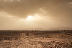 Threatening sky and wind in the desert of Sahara in Morocco Stock Images