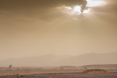 Threatening sky and wind in the desert of Sahara in Morocco Royalty Free Stock Image