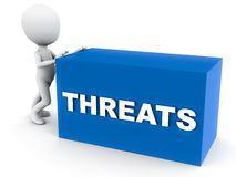 Threats. Word on a block pushed around by a little 3d man against white background Stock Photos