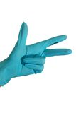 Three. Blue gloved hand. Counting till three Royalty Free Stock Image