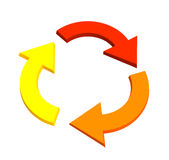 Three 3d arrows, showing recycling movement. Objects over white Royalty Free Stock Photos