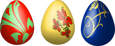 Three 3D easter eggs isolated. Illustration Stock Image