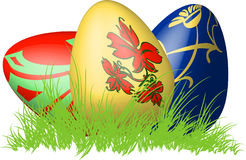Three 3D easter eggs in a nest of grass. Illustration Royalty Free Stock Images
