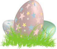 Three 3D easter eggs in a nest of grass. Illustration Royalty Free Stock Photo