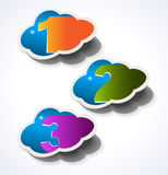 Three 3D effect Clouds with 3 choices Royalty Free Stock Photos