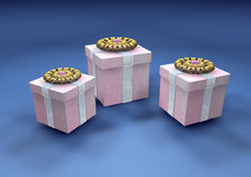 Three  3d gift boxes Stock Photo