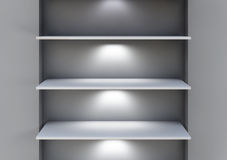 Three 3d shelves and spotlights for exhibit Royalty Free Stock Photo