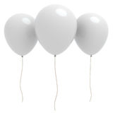 Three 3d white balloons with copyspace Royalty Free Stock Photo