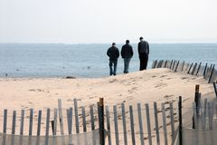 Three. Guys on the beach royalty free stock photo