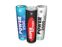 Three AA batteries Stock Photos