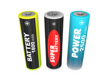 Three AA batteries Royalty Free Stock Photography