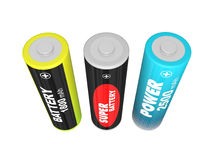 Three AA batteries Royalty Free Stock Photos