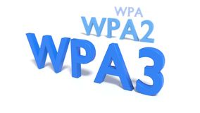 The three abbreviations WPA3 WPA2 and WPA on white floor fading. Into blur cybersecurity 3D illustration Stock Photography