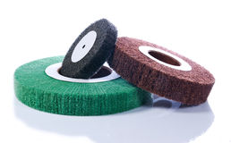 Three abrasive wheels Stock Photo