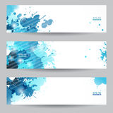 Three abstract artistic headers with blue splats stock illustration