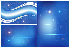Three abstract background blue Stock Photos