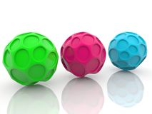 Three abstract balls on white. In backgrounds Royalty Free Stock Image