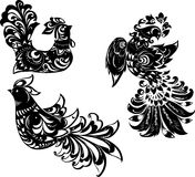 Three Abstract Black Birds Stock Image