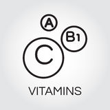 Three abstract black icons of vitamins A, C and B1. Abstract picture of vitamins. Three icons of vitamins A, C and B1 in outline style. Science and healthy royalty free illustration