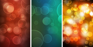 Three abstract Bokeh backgrounds Royalty Free Stock Images