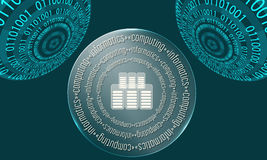 Three abstract circles. With binary code and the words computing, informatics Royalty Free Stock Image
