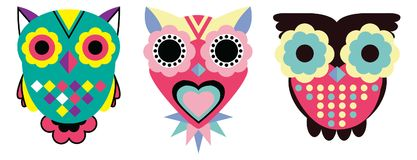 Abstract geometric owls stock illustration