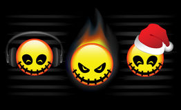 Three abstract emoticons. Of christmas, flames and music Royalty Free Stock Photo